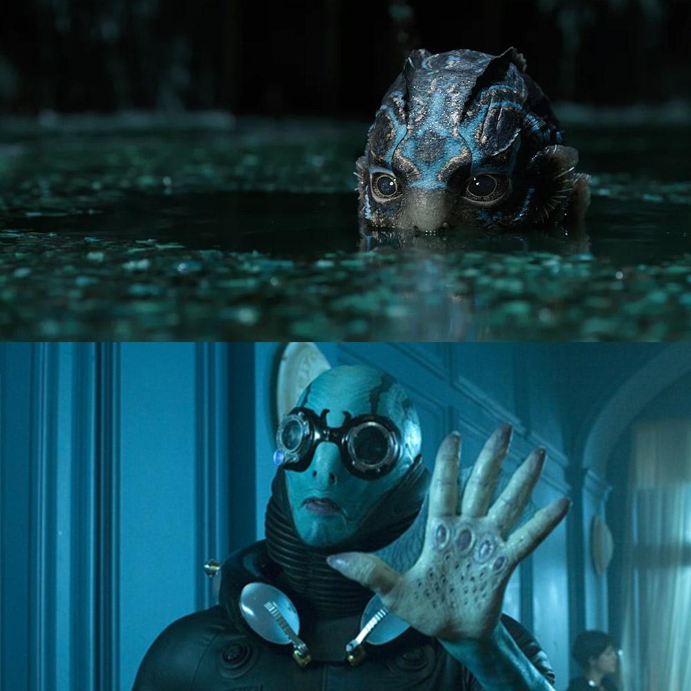 """Doug Jones nella sua doppia interpretazione anfibia in """"La forza dell'acqua"""" e in """"Hellboy"""""""