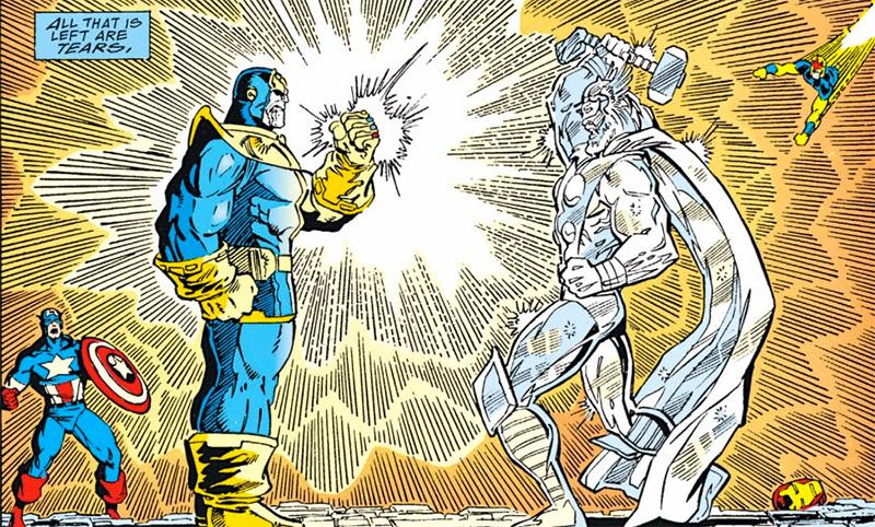 Con il potere delle Gemme dell'Infinito combinate anche uccidere un dio è un gioco da ragazzi per Thanos